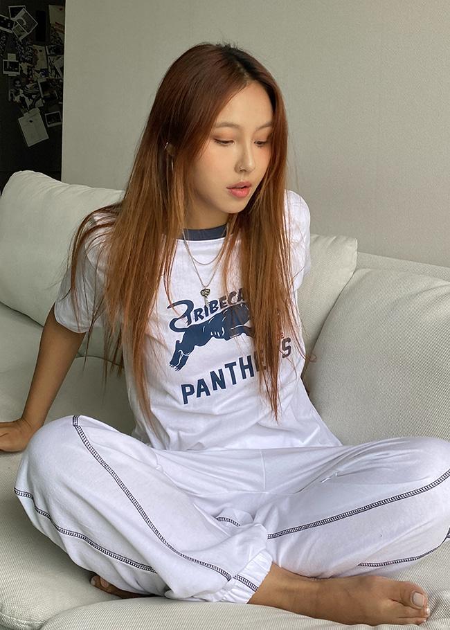 DARKVICTORY配色PANTHERS燙印T恤