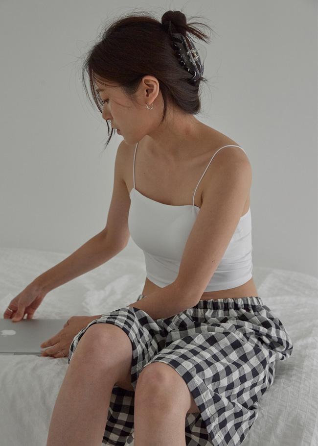 DARKVICTORY慵懶系方格紋鬆緊腰五分睡褲