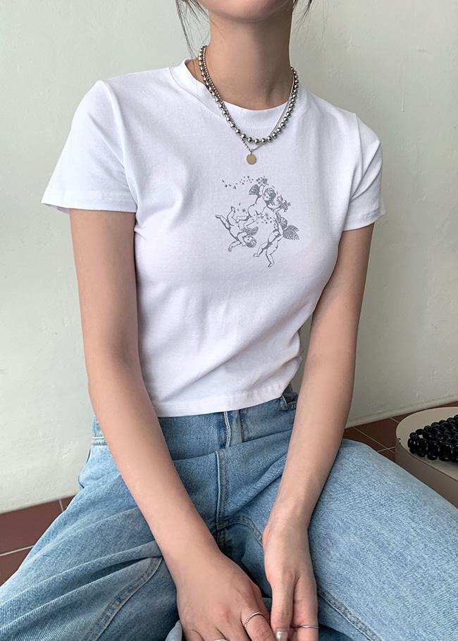 DARKVICTORY灑花小天使燙印短版T恤