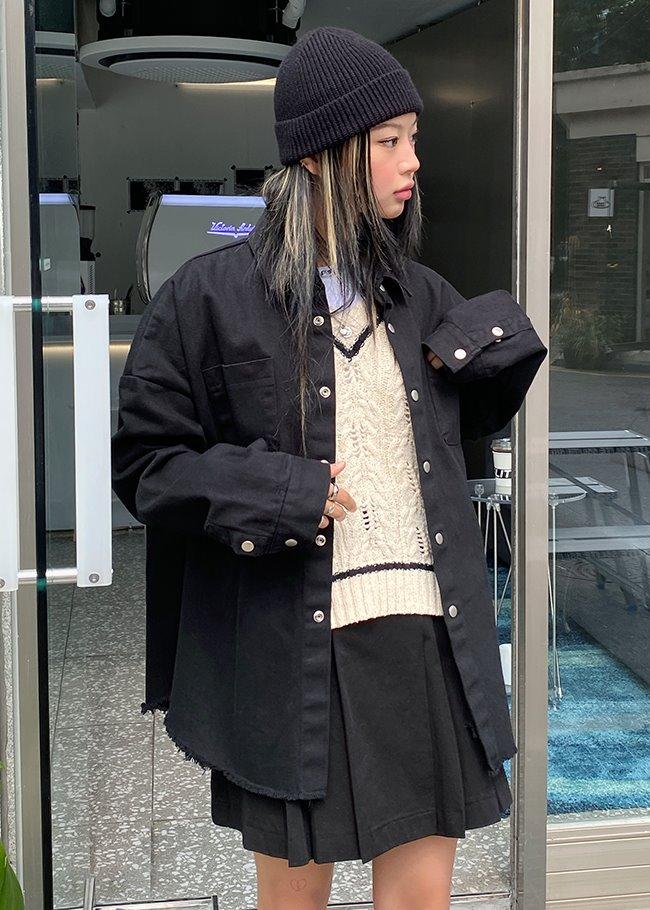 DARKVICTORY壓釦雙口袋襯衫式外套