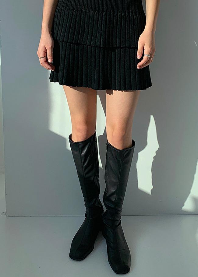 DARKVICTORY顯瘦感側拉鍊仿皮粗跟長靴