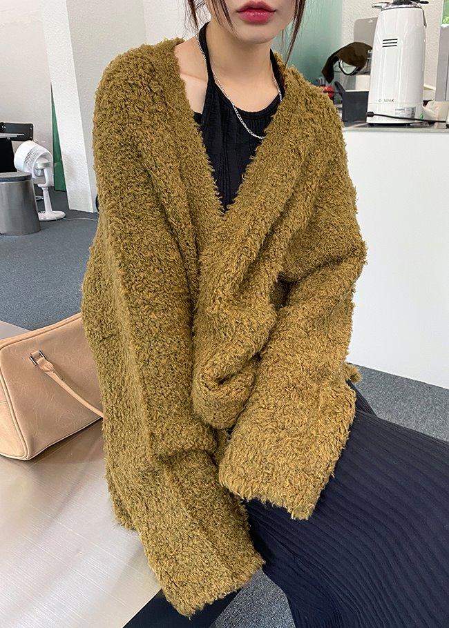 DARKVICTORY雙口袋混羊毛開襟針織外套