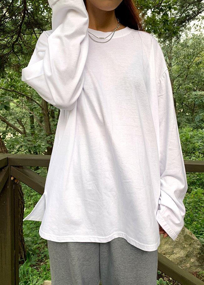 DARKVICTORY日常款側開衩寬鬆長袖T恤