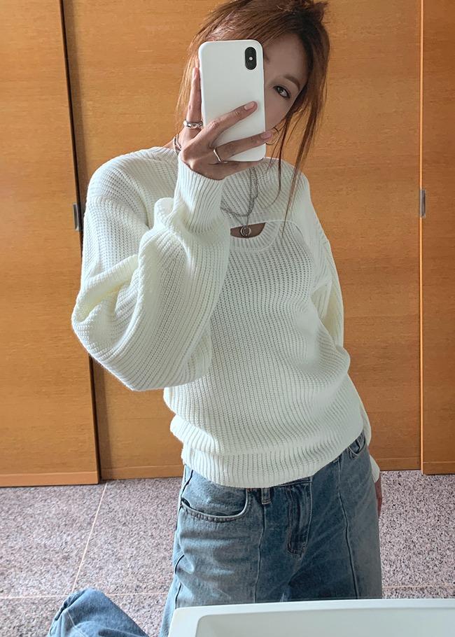 DARKVICTORY[套裝]迷人純色超短版針織上衣+針織背心