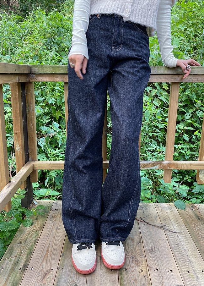DARKVICTORY時尚寬管落地原色牛仔褲