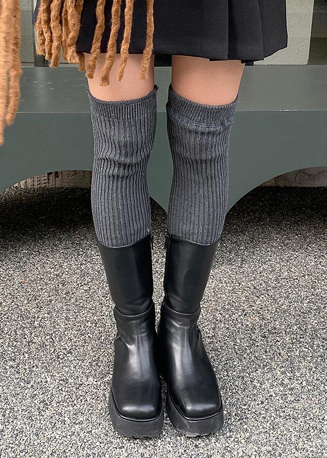 DARKVICTORY摩登日常側拉鍊楔型中長靴