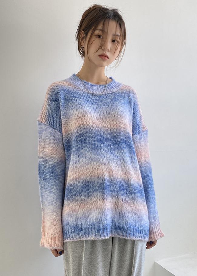 DARKVICTORY夢幻系色調混羊毛針織上衣