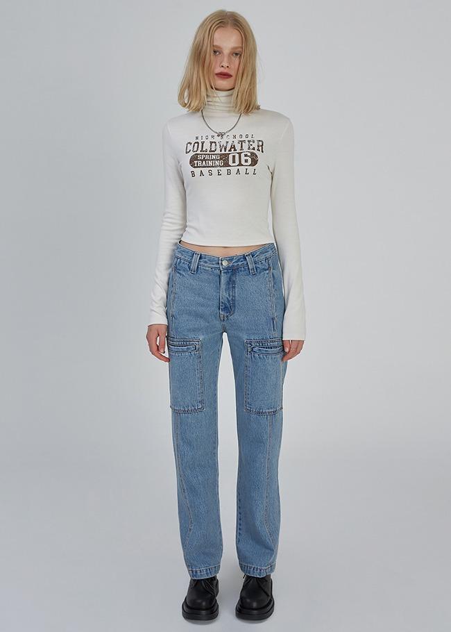DARKVICTORY車線方口袋直筒牛仔褲