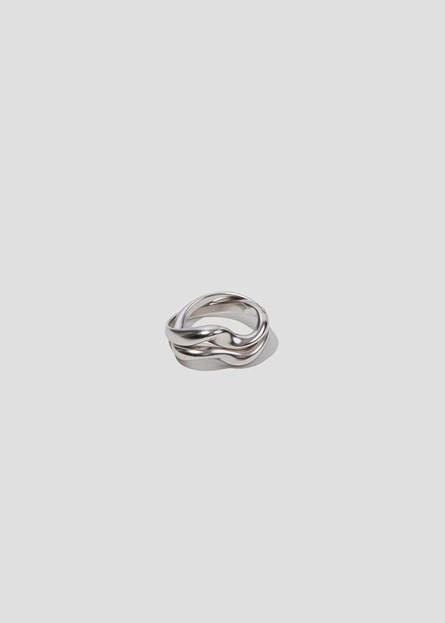 DARKVICTORY層次波浪造型金屬戒指