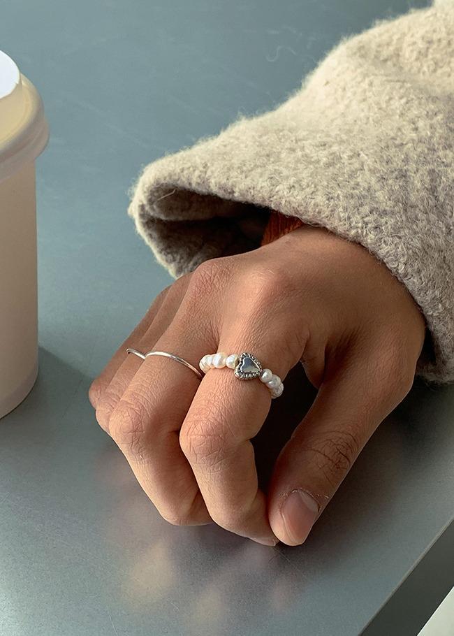 DARKVICTORY愛心綴飾珍珠戒指