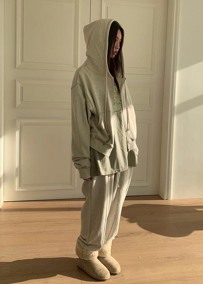 DARKVICTORY[套裝]車線點綴連帽拉鍊外套+鬆緊腰縮口褲