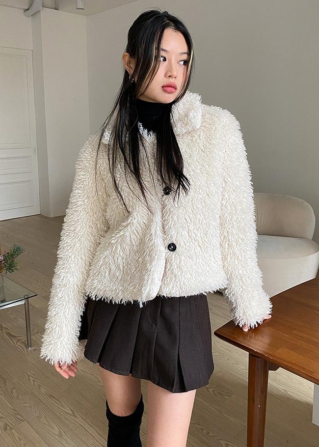 DARKVICTORY絨毛內絎縫翻領排釦外套