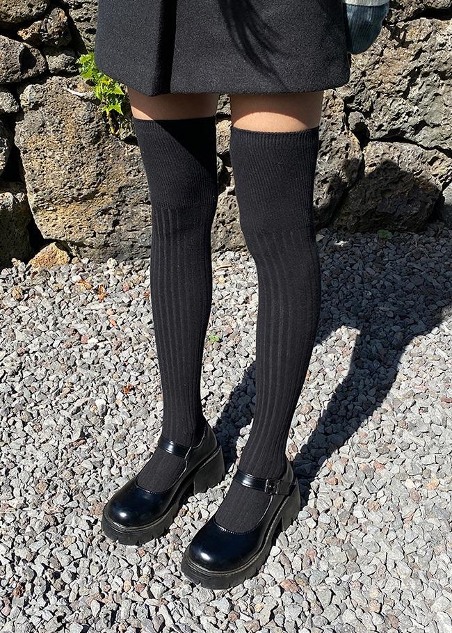DARKVICTORY基本款顯瘦羅紋膝上襪