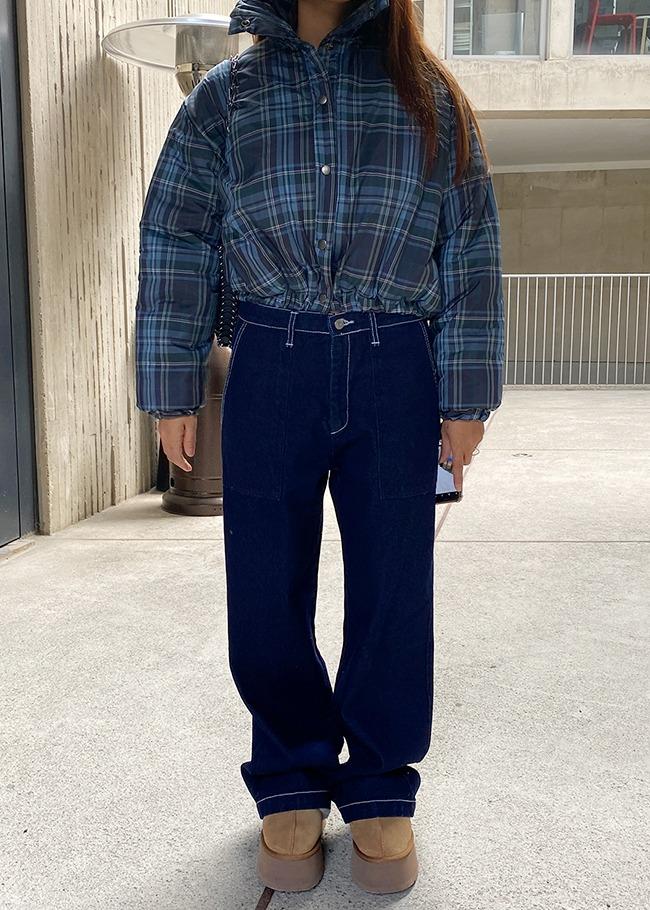DARKVICTORY亮車線大口袋寬管牛仔褲