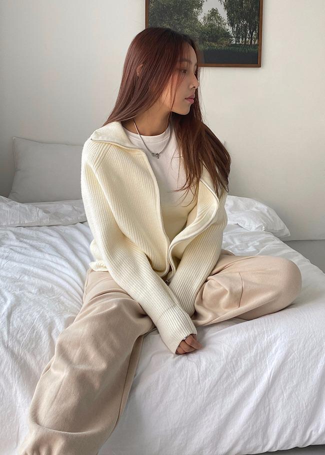 DARKVICTORY拉克蘭袖純色拉鍊針織外套