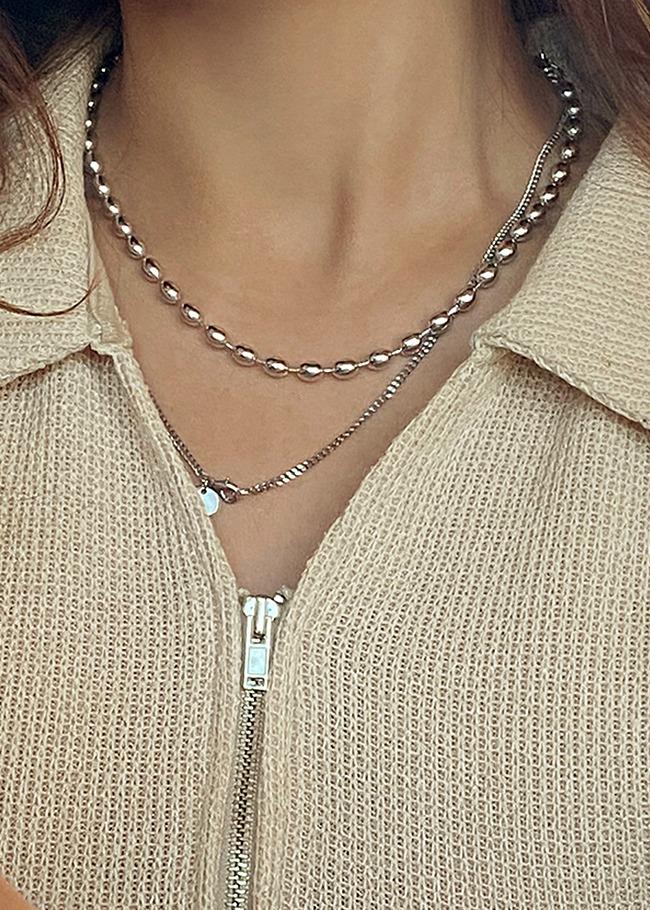 DARKVICTORY簡約橢圓珠造型項鍊