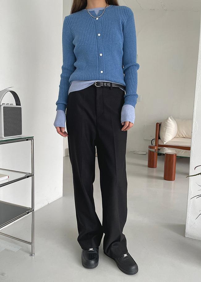 DARKVICTORY後鬆緊高腰寬管西裝褲