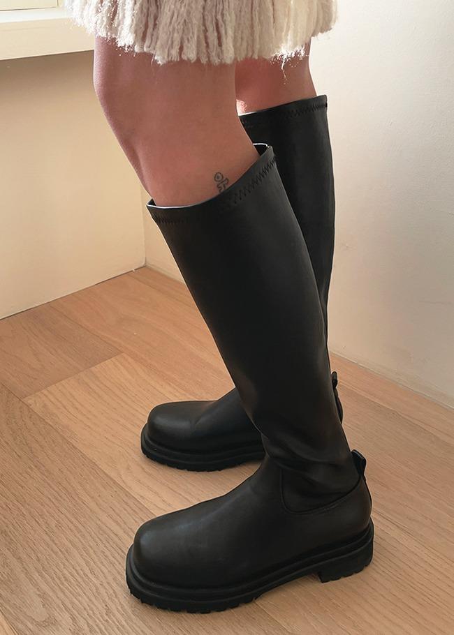 DARKVICTORY拼接造型無印中跟長靴