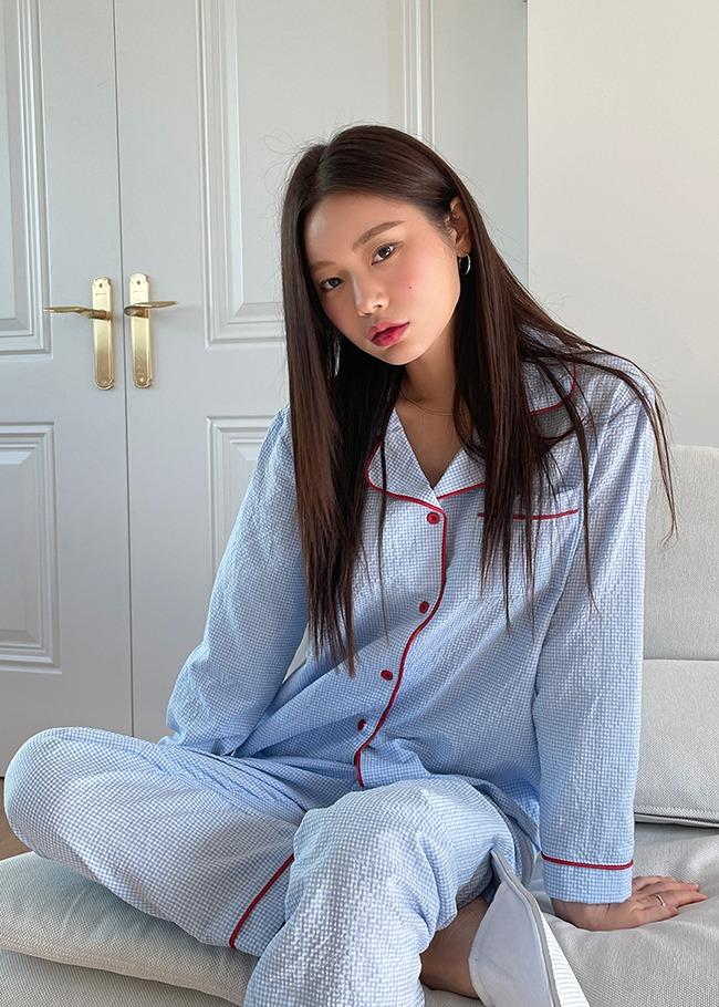 DARKVICTORY[套裝]配色滾邊細格紋睡衣褲套裝