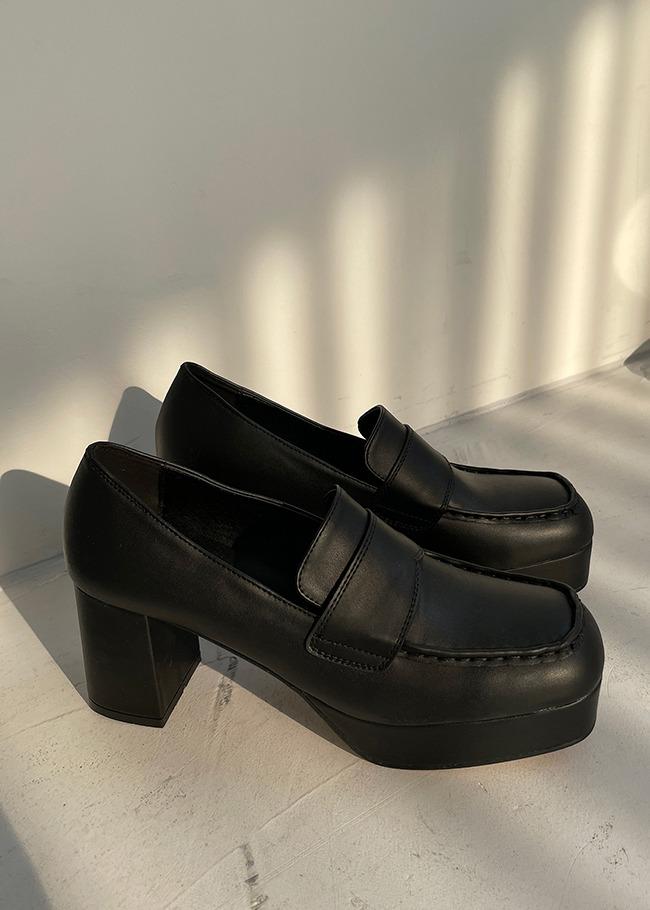 DARKVICTORY橫帶裝飾素面皮革高跟鞋