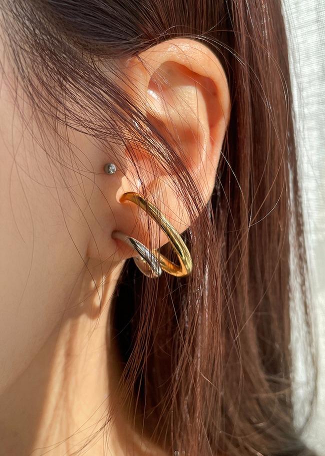 DARKVICTORY配色雙曲線造型金屬耳環