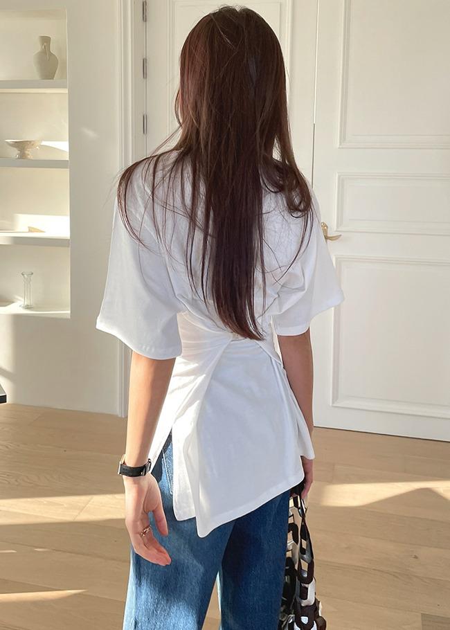 DARKVICTORY2WAY燙印寬鬆開衩襬T恤
