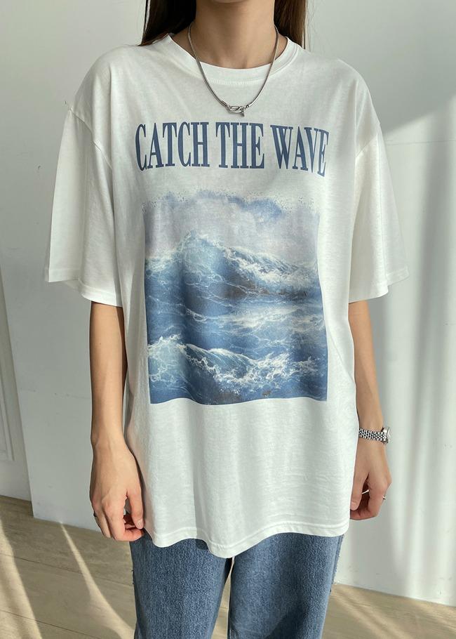 DARKVICTORYTHEWAVE圖案燙印寬鬆T恤