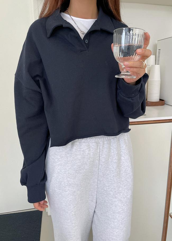 DARKVICTORY翻領半排釦澎袖短版T恤