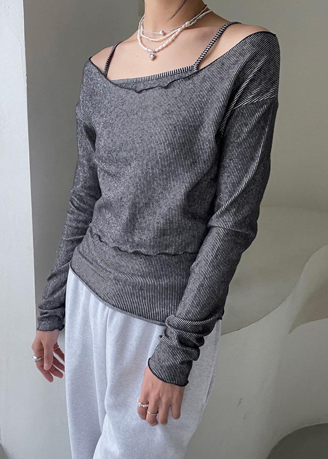 DARKVICTORY[套裝]短版羅紋一字領T恤背心套裝