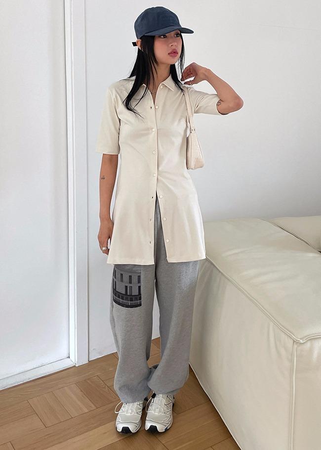 DARKVICTORY翻領排釦A字棉質短洋裝