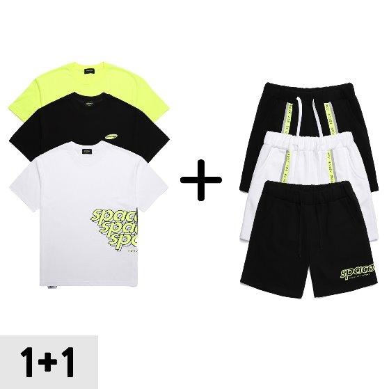 [스페이스에이지] 로고 티셔츠+하프팬츠 (1+1)