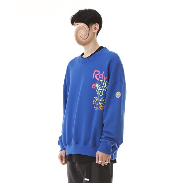 [RDVZ] 알디브이제트 Crayon Sweat Top Blue