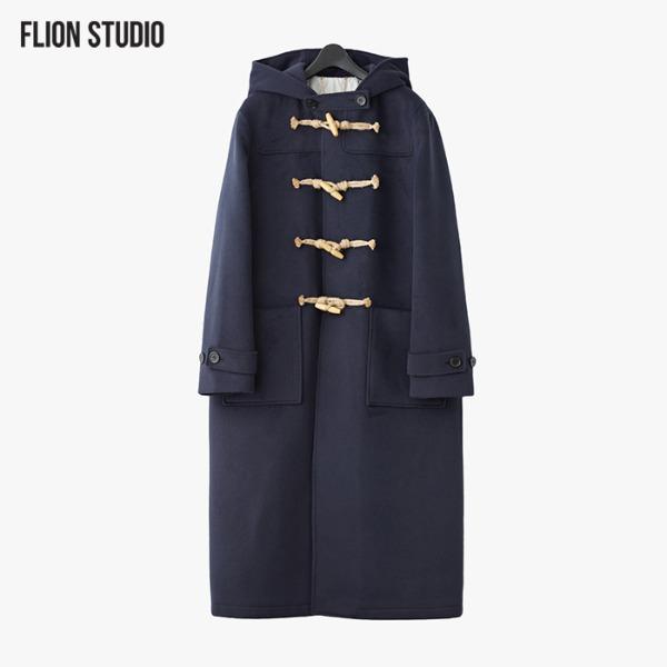 [쿠치샵 창고대방출][FLION] [UNISEX] 세인트 후드 더플 코트 - 네이비