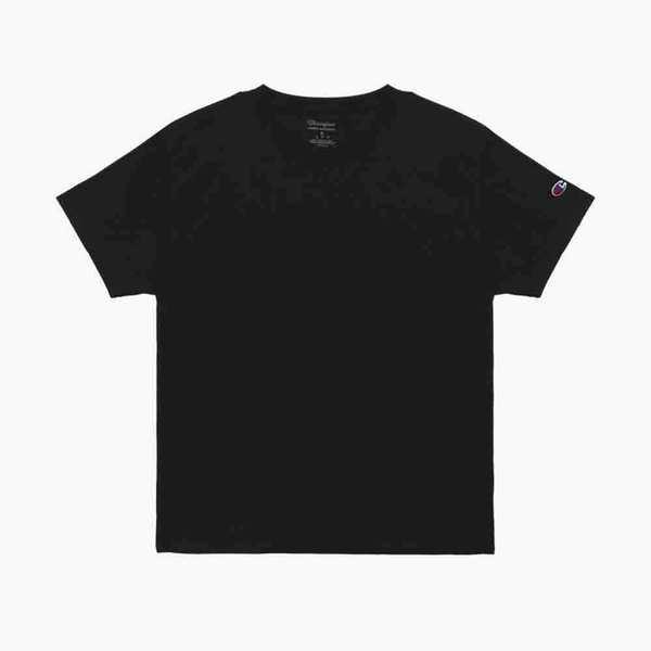 [시즌얼리버드]챔피온 남여공용 베이직 숏슬리브 티셔츠 블랙 T425