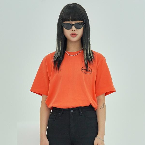[아키요루] 더블 라운드 로고 반팔티 (오렌지)