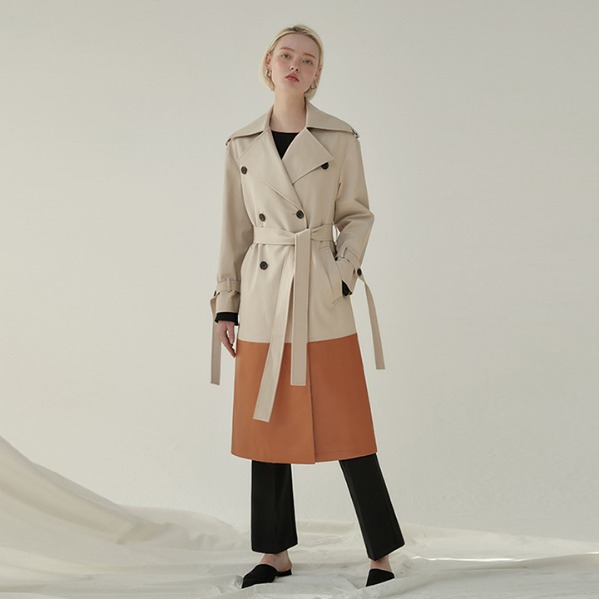 [ANOTHER LOUNGE] Trench Coat Cardiff Leather-Trimmed (Beige/Brown)