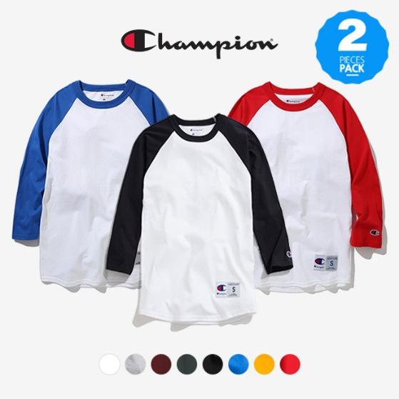 [쿠치샵 창고대방출][챔피온] (1&1) T137 래글런 베이스볼 3/4 티셔츠 패키지