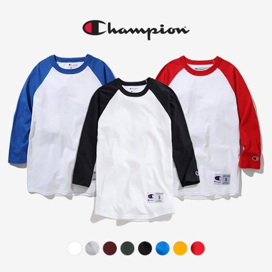 [쿠치샵 창고대방출][챔피온] T137 래글런 베이스볼 3/4 티셔츠