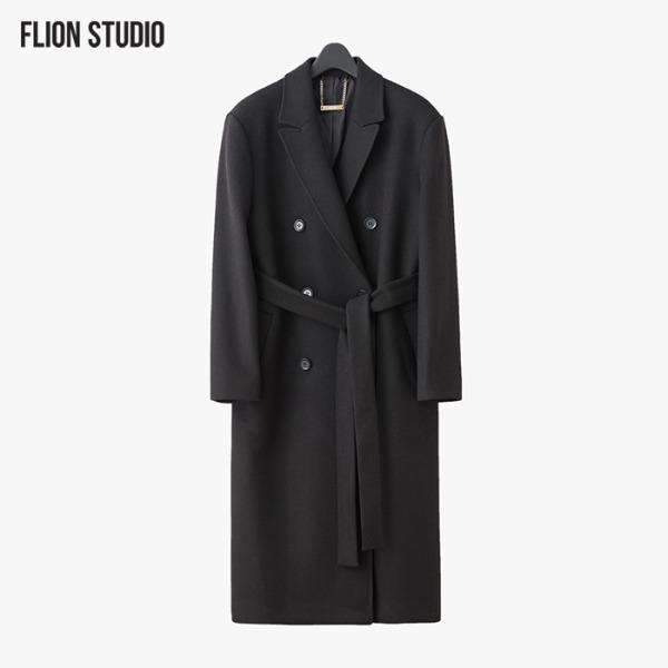 [FLION] [UNISEX] 옥스포드 더블 브레스티드 울 코트 - 블랙