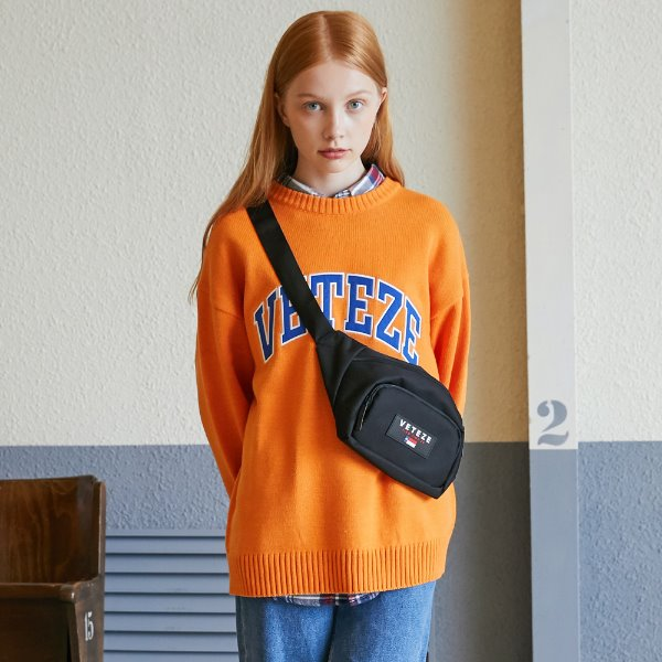 [VETEZE] Applique Knit (orange)