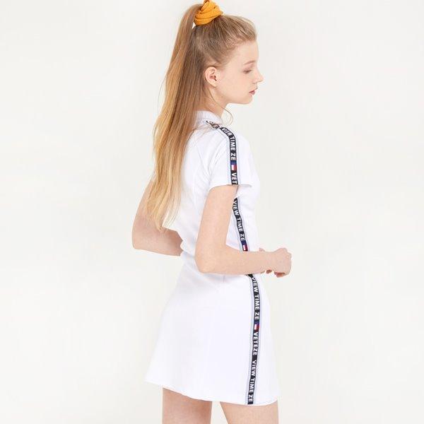 [VETEZE] Tape Zip Line Onepiece (white)