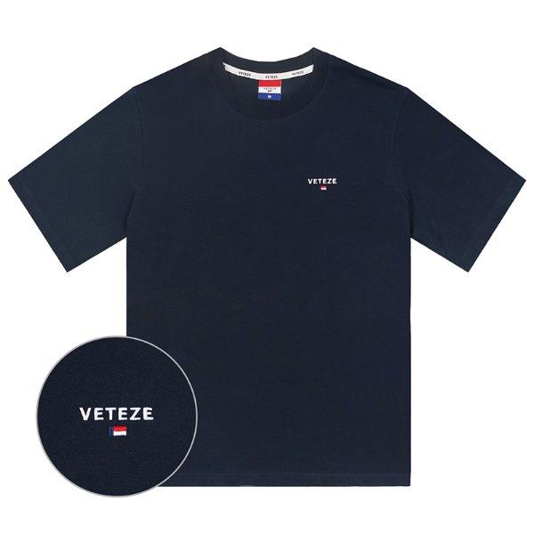 [2020S/S 시즌오프][VETEZE] Basic Logo Half T-Shirts (navy)