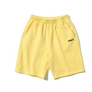 [프리마우터] 피엠 베이직 로고 하프팬츠 (vanilla yellow)