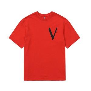 [비브르 리브레] V PANEL PRINT OVERSIZE T-SHIRT (Red)