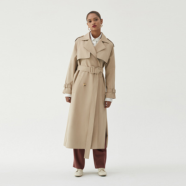 [ANOTHER LOUNGE] Trench coat Multi Double-Breasted (Beige)