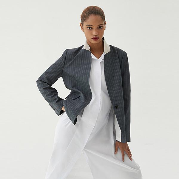 [ANOTHER LOUNGE] Blazer Single Linen Point (Stripe)
