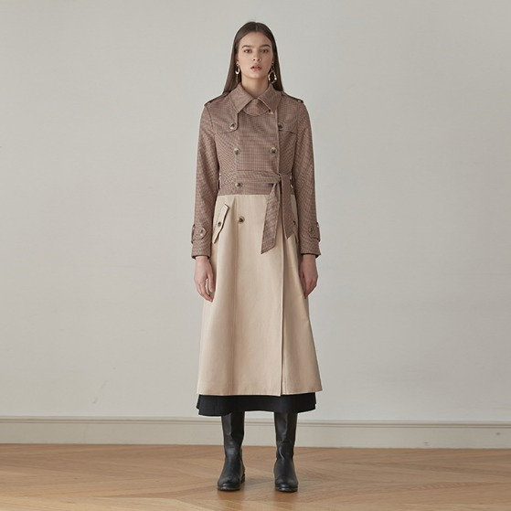 [ANOTHER LOUNGE] Trench Coat Check Mix Double-Breasted (Brown/Beige)