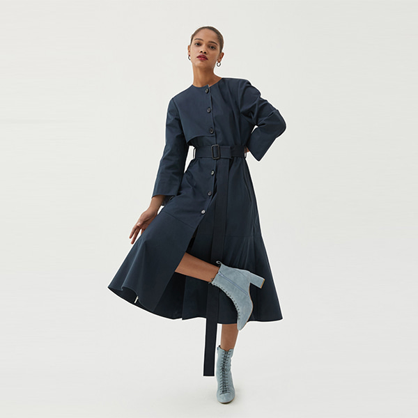 [ANOTHER LOUNGE] Dress Belted Trench (Navy)