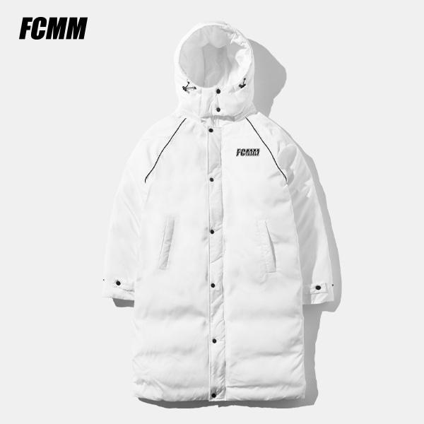 [FCMM] 클럽 빅로고 라인 패딩 벤치코트 - 화이트