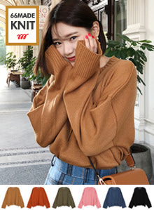 Round Neck Wide Sleeve Knit Top